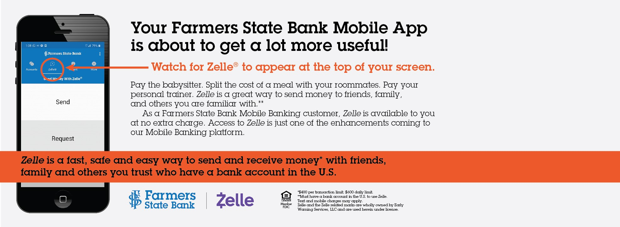 Check out Zelle now offered with FSB. Person to person payments. Click here to learn more.